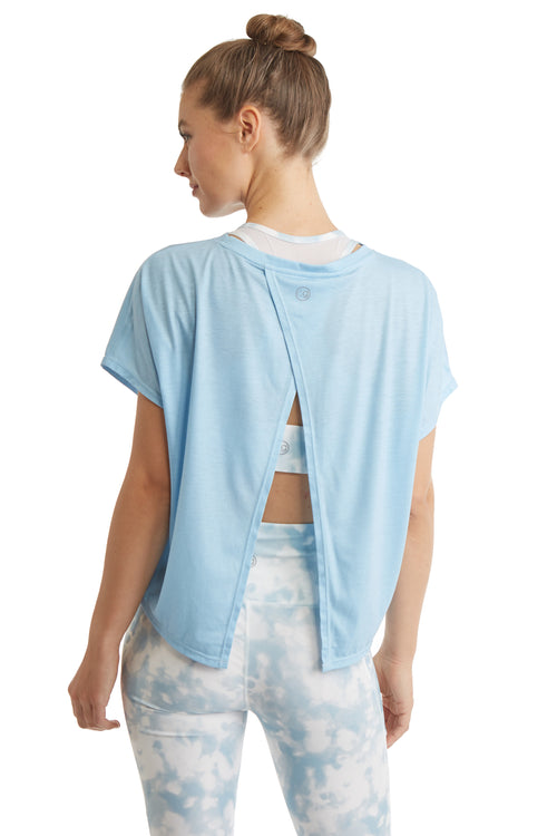 SHORT SLEEVE PULL OVER TOP WITH OPEN BACK-DREAM BLUE