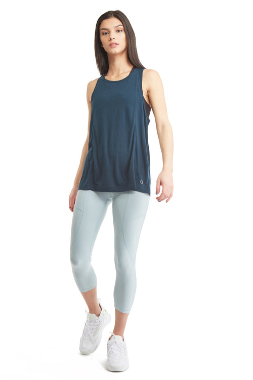 SLEEVELESS PULL OVER TANK TOP-DUSK BLUE