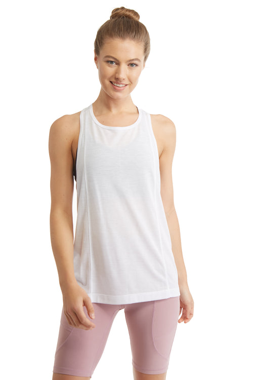 SLEEVELESS PULL OVER TANK TOP-WHITE