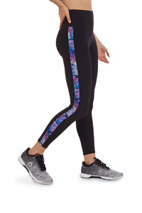 HIGH WAIST LEGGING WITH LEAVES PRINT SIDE PANEL