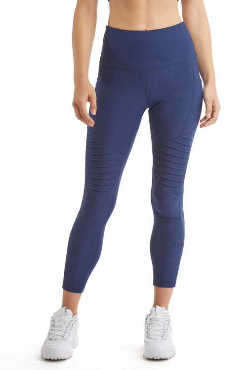 MOTO STYLE 7/8 LEGGING WITH SIDE PHONE POCKET-DUSK BLUE