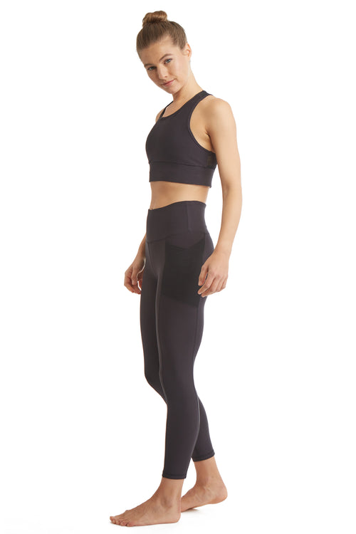 7/8 OVERLAP SIDE PHONE POCKET LEGGINGS-BOLD BLACK