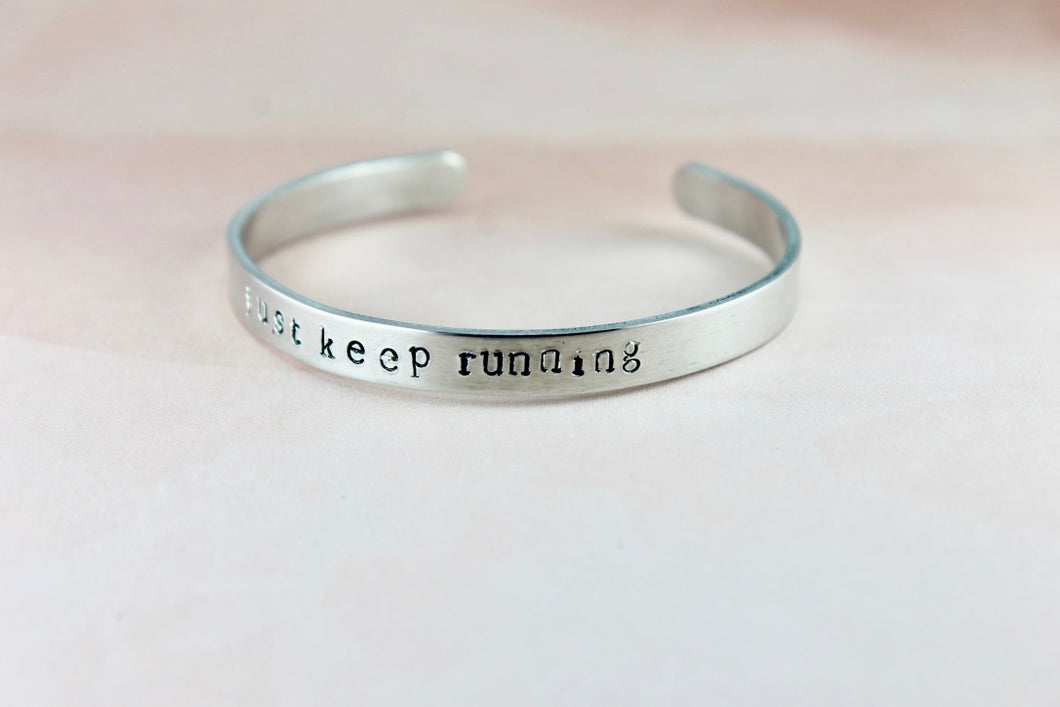 Just Keep Running Cuff Bracelet