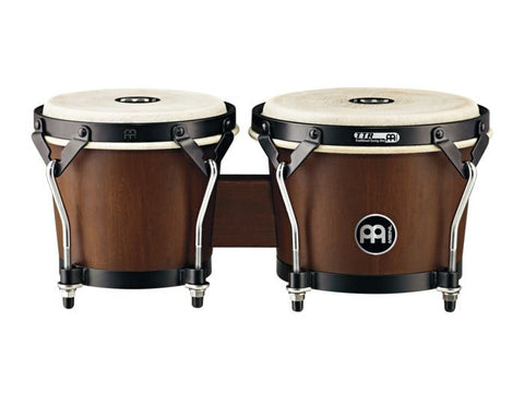 "Meinl Percussion 6 3/4"" + 8"" designer wood bongo walnut brown, headliner."