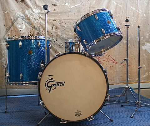 "Gretsch ""Round Badge"" Blue Sparkle Vintage Drum Set"