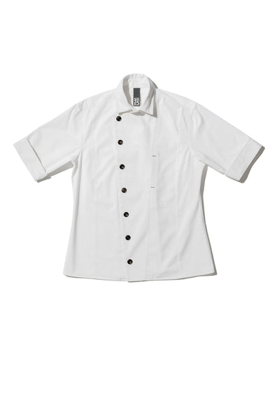 white chef shirt, modern chef clothing, mens chef shirts, shannon reed