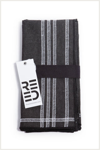 Designer Napkin - Black Denim with White Embroidery