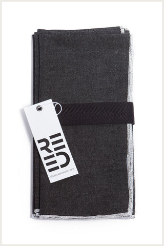 Designer Napkin - Black Denim with Metallic Trim
