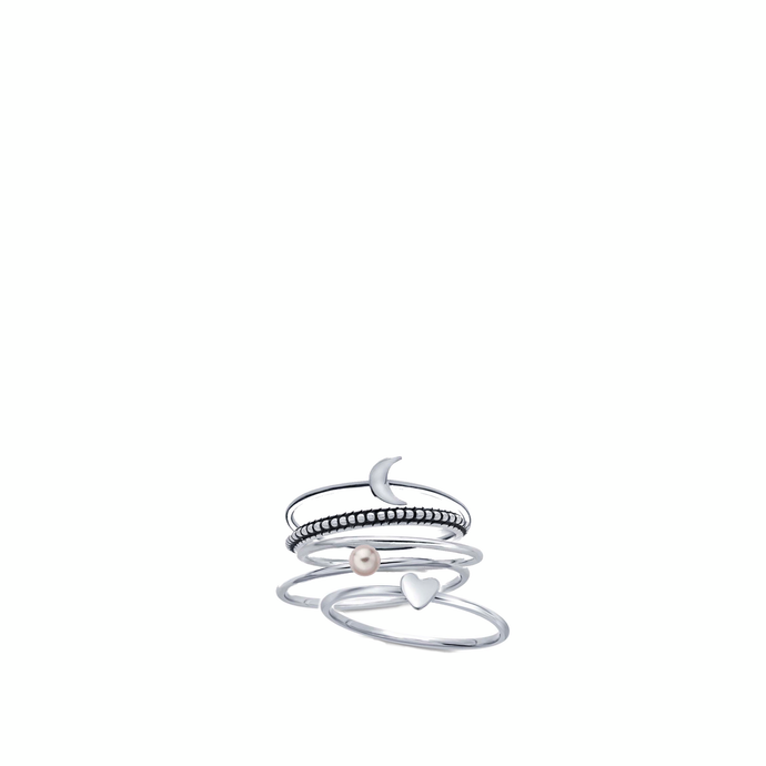 moon & back stacking rings - dani keith designs jewelry