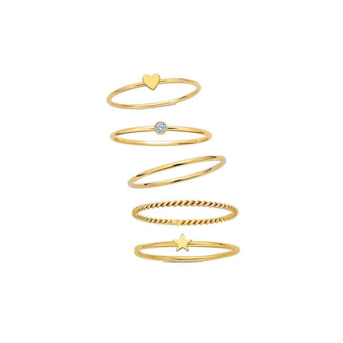 love, sparkle & stardust stacked rings - dani keith designs jewelry
