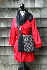 Pocket Cover, Black and Maraschino Plaid