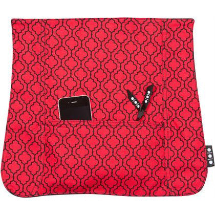 Pocket Cover, Red Quatrefoil