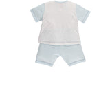 2 Piece Variated Striped Top with Embroidered Emile et Rose Bear Shorts