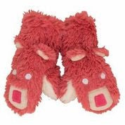 Pink Bear Fuzzy Fleece Mitts