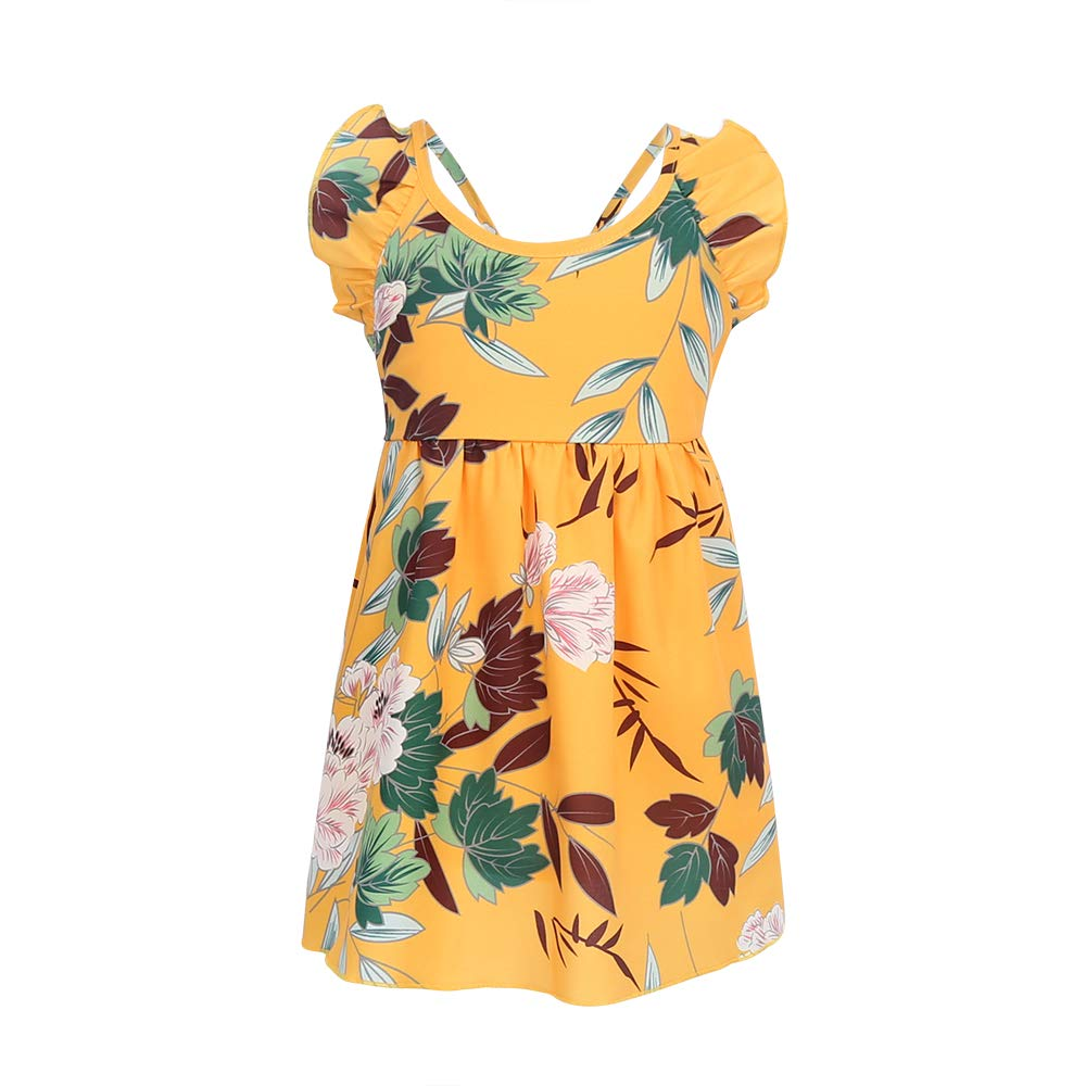 abfe22c66 ... Mother Floral Print Sleeveless Ruffle Backless Matching Outfits
