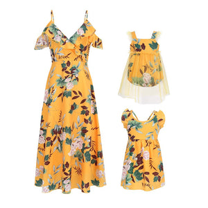 b0b36f669 Mother Floral Print Sleeveless Ruffle Backless Matching Outfits ...