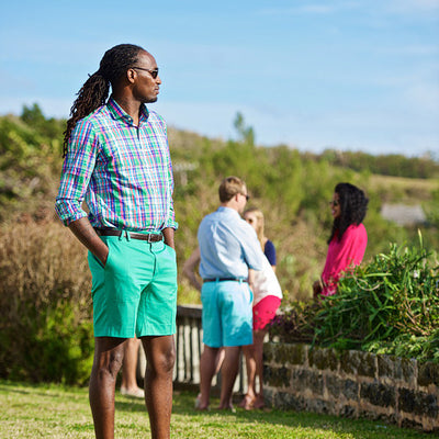 TABS Mens Lagoon Green cotton Bermuda shorts
