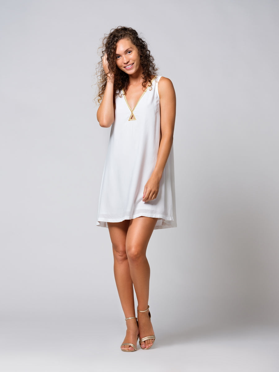 TABS Bermuda Trapeze Dress in White