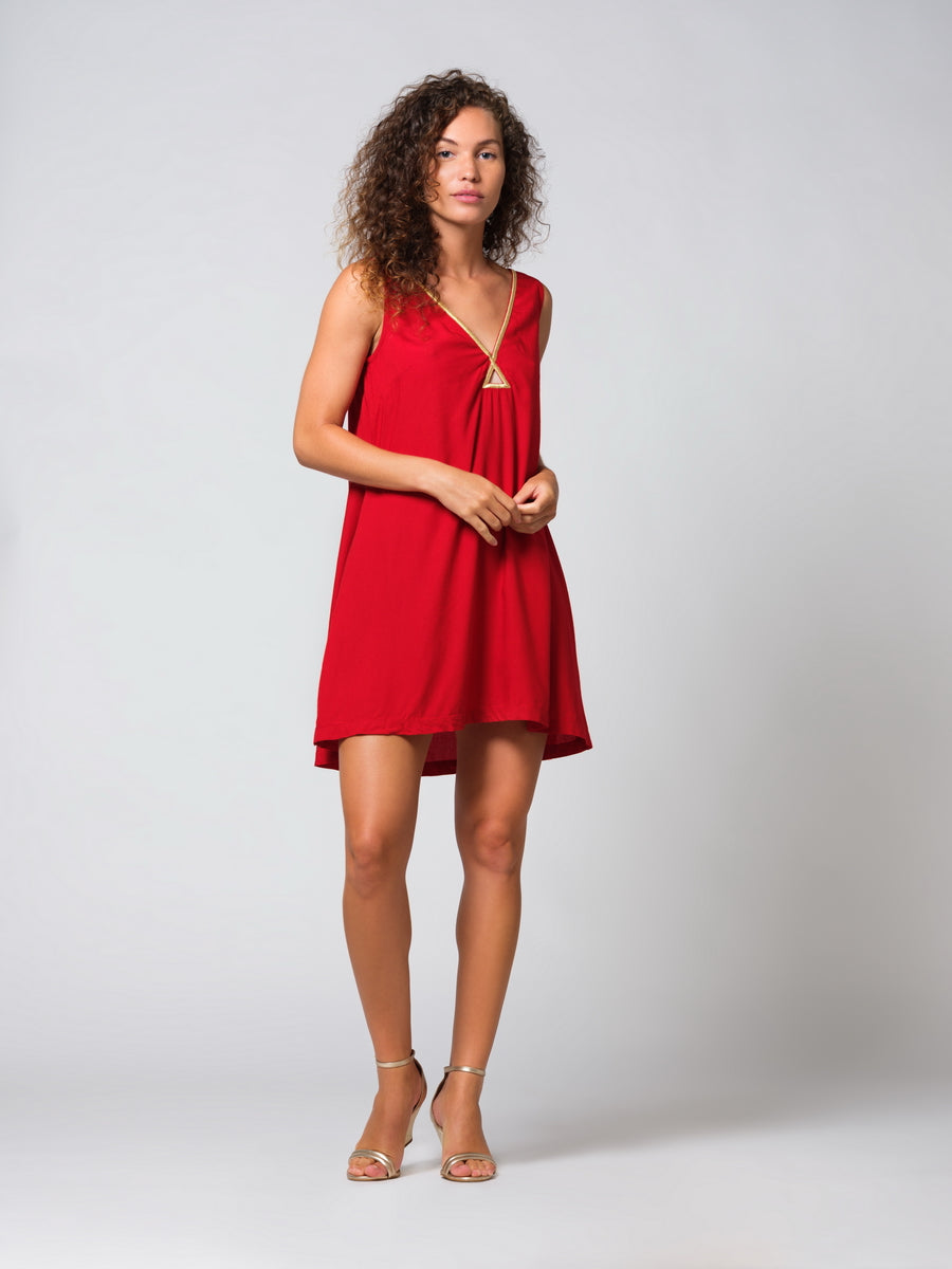 TABS Bermuda Triangle Trapeze Dress in Olympic Red