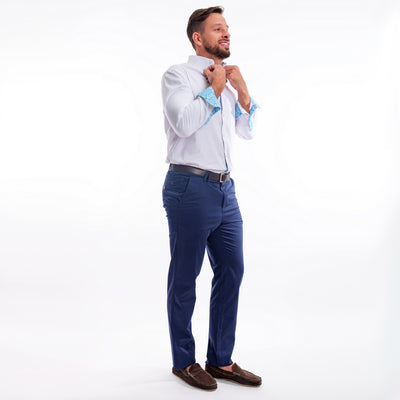 Stretch cotton chinos - Sinkhole Blue