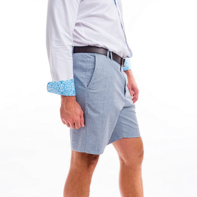 TABS Blue Heron cotton linen Bermuda shorts