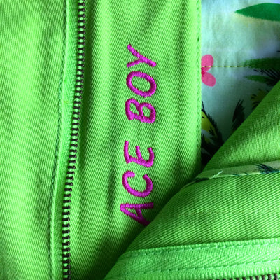 TABS Bay Grape Green with embroidery ACE BOY on fly