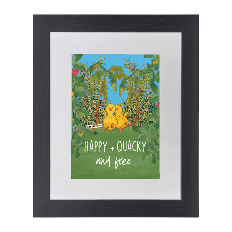 the little blue ducky black framed art poster