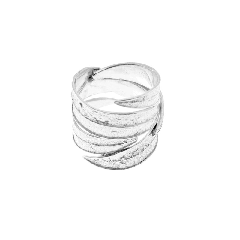 Airy Heights Design sterling silver oleander leaf wrap ring
