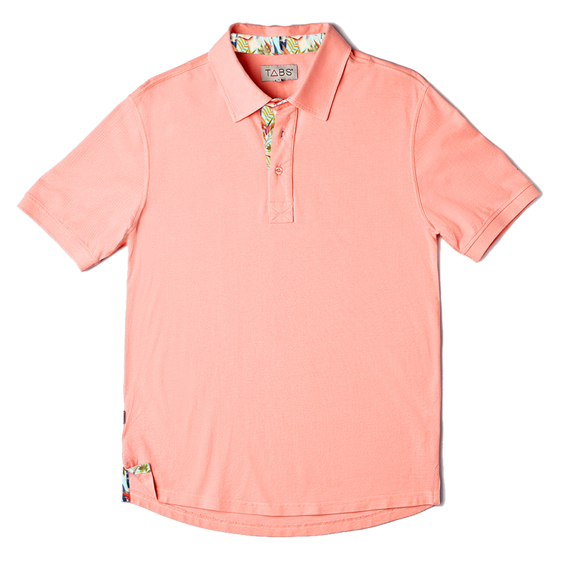 TABS papaya pink mens short sleeve polo