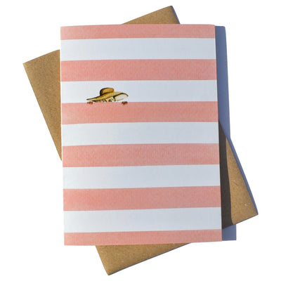 Roots bermuda pink strip watercolour greeting card