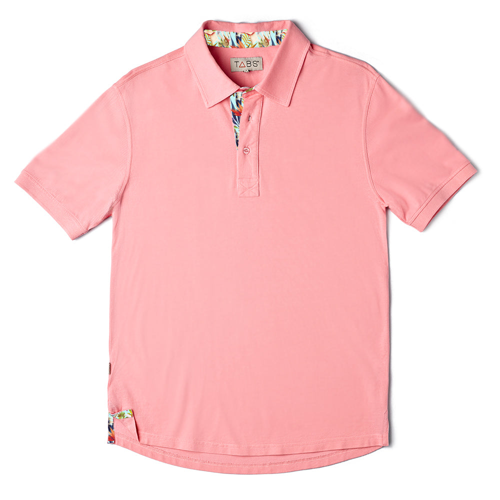 TABS mens Performance polo Rosewood Pink