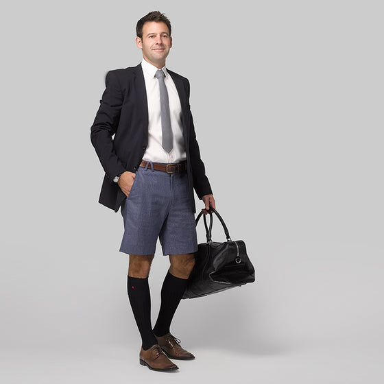 Mens cotton linen shorts in Salty Navy