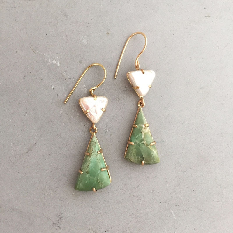 Rebecca Little 14kt Yellow Gold Triangle Pearl & Green Opal Earrings