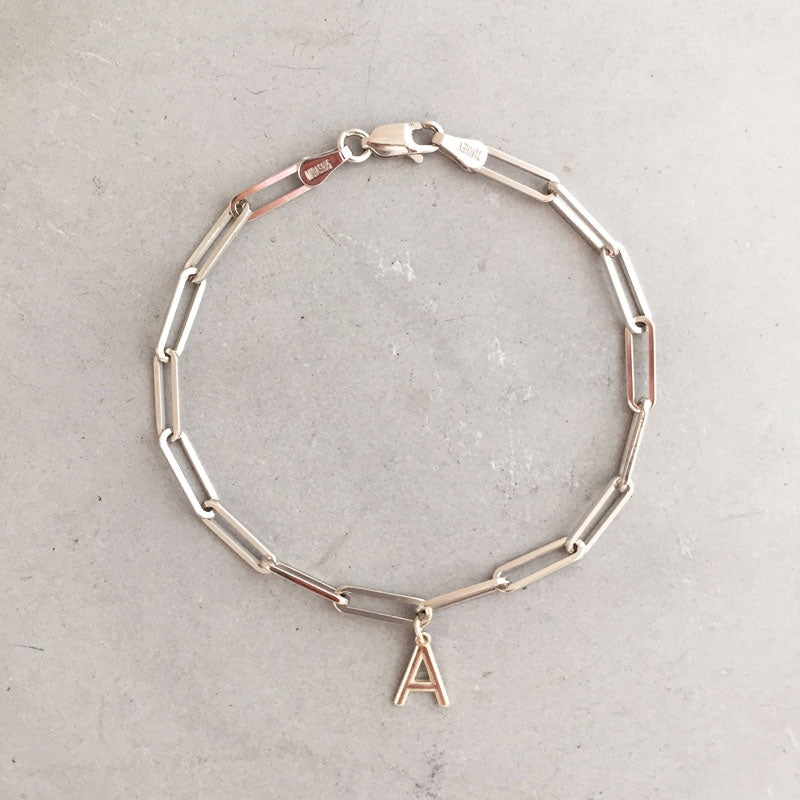 Rebecca Little Paperclip Chain Initial Bracelet