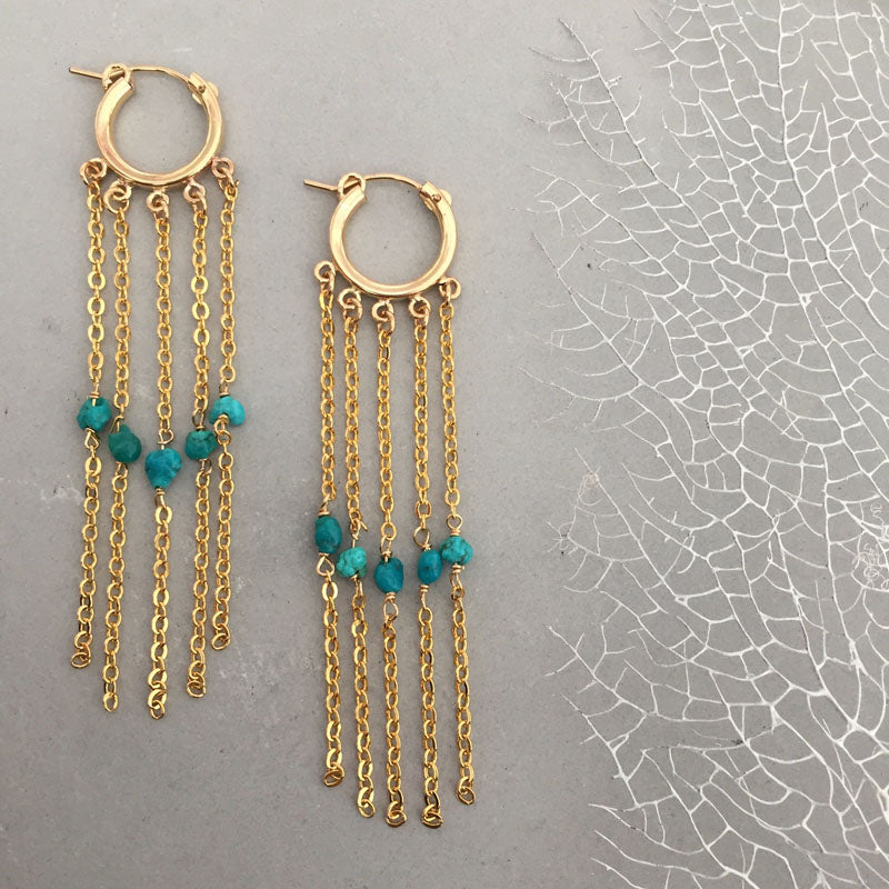 Small Hoops with Chain and Turquoise Rebecca Little Jewellery