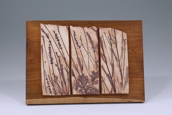 Three Herb Tiles Mounted on Cherry Wood