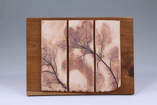 Three Mint Tiles Mounted on Cherry Wood