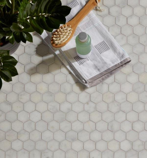 Long Island Marble Hexagon Mosaic