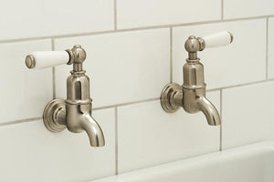 Mayan Wall Mounted Taps with Lever Handles and Rinse