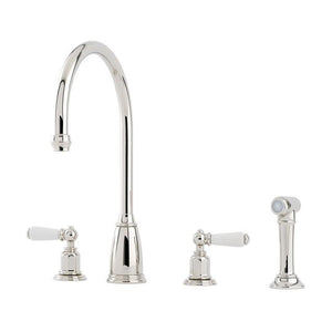 Athenian Four Hole Sink Mixer with Lever Handles and Rinse