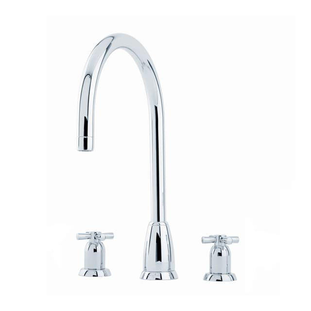 Callisto Three Hole Sink Mixer with 'C' Spout and Crosshead Handles