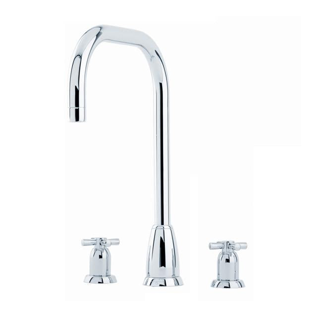 Callisto Three Hole Sink Mixer with 'U' Spout and Crosshead Handles