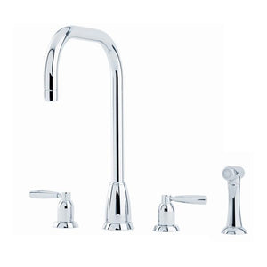 Callisto Four Hole Sink Mixer with 'U' Spout and Crosshead Handles and Rinse