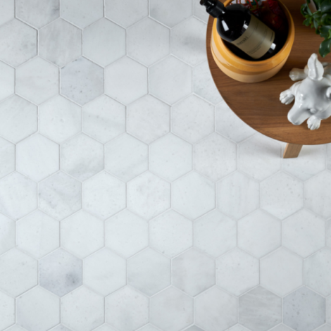 Long Island Marble Honed Large Hexagon Mosaic