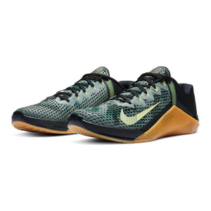 Men's Nike Metcon 6, men, nike, metcon, 6, crossfit, gym, workout, training, shoe, color, style, camo, black, green, gum, sole, gold