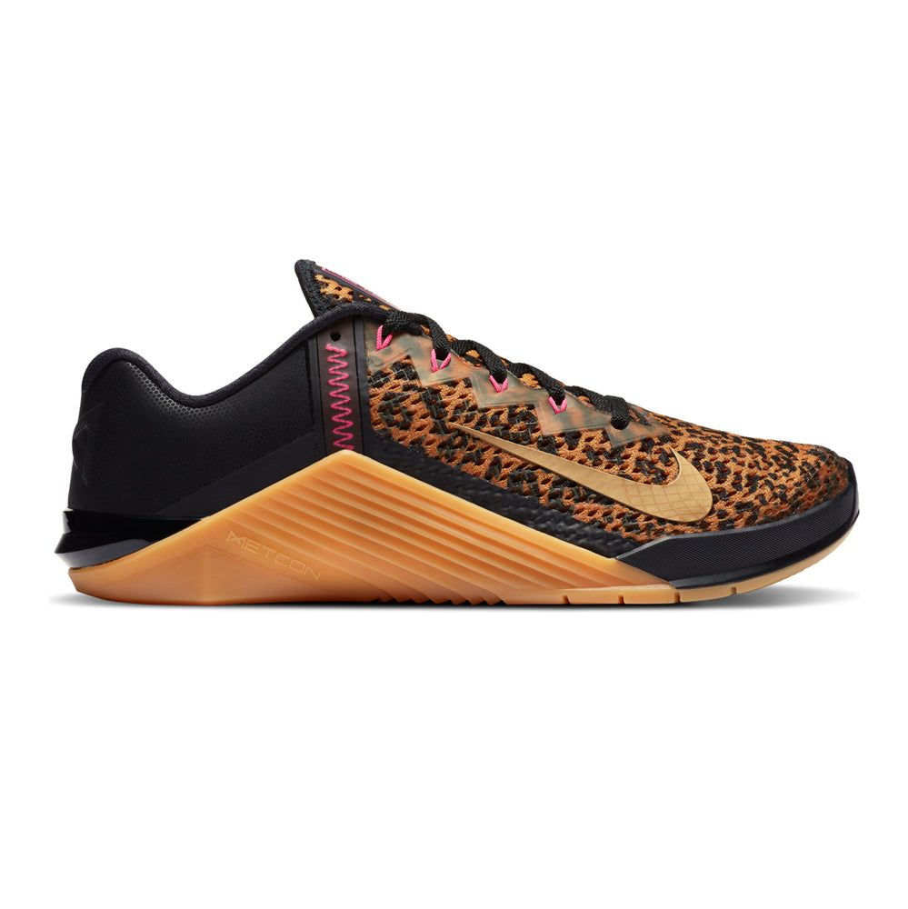Women's Nike Metcon 6 , women, nike, metcon, 6, crossfit, gym, workout, training, shoe, color, style, black, cheetah, leopard, print, pink, gum, sole, metallic, gold, chutney