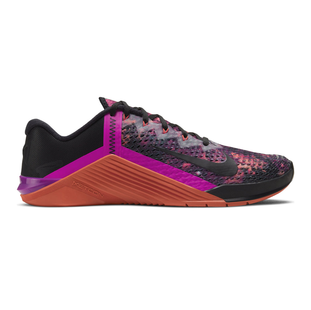 Men's Nike Metcon 6 , men, nike, metcon, 6, crossfit, gym, workout, training, shoe, color, style, martian sunrise, black, red, plum