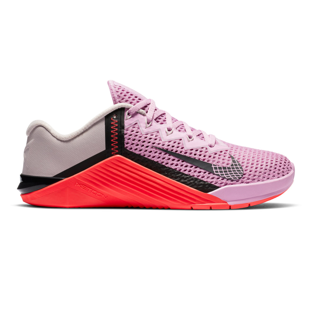 Women's Nike Metcon 6 , women, nike, metcon, 6, crossfit, gym, workout, training, shoe, color, style, pink, laser crimson, red, black