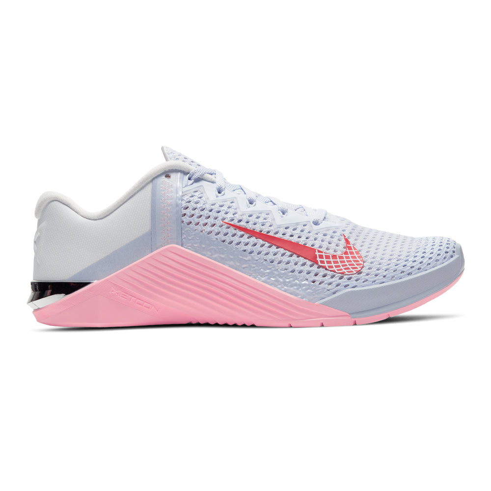 Women's Nike Metcon 6, women, nike. metcon, crossfit, gym, workout, training, shoe, new, color, style, grey, pink, valentine day