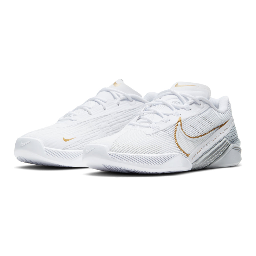 Load image into Gallery viewer, Women's Nike React Metcon Turbo, react, women, nike, metcon, turbo, new, crossfit, workout, gym, training, shoe, style, color, white, gold, metallic, grey